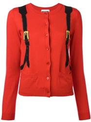 Moschino Trompe L'oeil Backpack Cardigan Women Cotton 44 Red