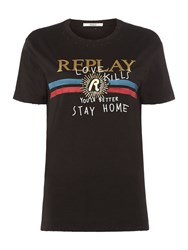 Replay Printed Cotton Jersey T Shirt Nearly Black