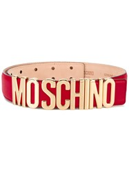 Moschino Leather Logo Belt Red