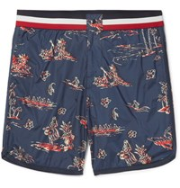 Moncler Mid Length Printed Swim Shorts Blue