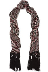 Missoni Fringed Wool Blend Scarf Black