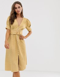 Moon River Midi Dress With Puff Sleeves And Belt Yellow