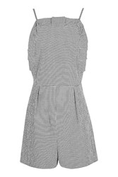 Topshop Gingham Frill Playsuit Monochrome