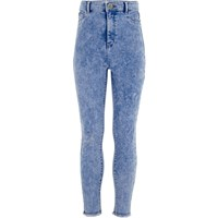 River Island Girls Blue High Waisted Molly Jeggings