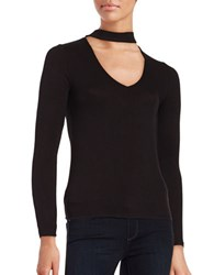 Design Lab Lord And Taylor Long Sleeve Cutout Knit Top Black