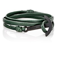 Miansai Men's Modern Anchor On Leather Wrap Bracelet Green