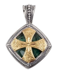 Konstantino Men's Sterling Silver And 18K Gold Pendant With Aventurine Green
