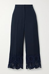 Lela Rose Cropped Broderie Anglaise Cotton Trimmed Crepe Wide Leg Pants Midnight Blue