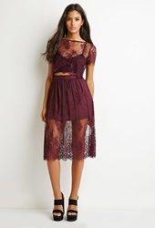 Forever 21 Scalloped Floral Lace Skirt Eggplant