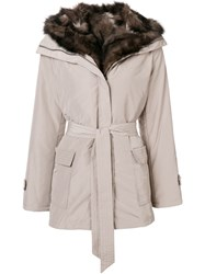 Max And Moi Belted Fur Lined Parka Nude And Neutrals