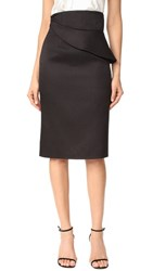 Brandon Maxwell Folded Waist Pencil Skirt Black