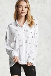 Forever 21 Palm Tree Graphic Shirt Cream Pink