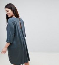 Junarose 3 4 Sleeve Shift Dress With Pleat Detail Back Grey