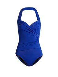 Norma Kamali Mio Halterneck Ruched Swimsuit Blue