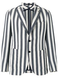 Tagliatore Striped Blazer Blue