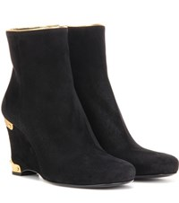 Prada Suede Wedge Ankle Boots Black