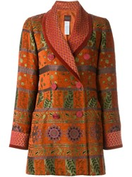 Kenzo Vintage Floral Jacquard Jacket Yellow And Orange