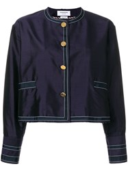 Thom Browne Unconstructed Silk Dressing Jacket Blue