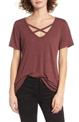 Socialite Women's Strap Front Tee Dusty Wine