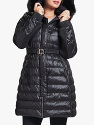 Four Seasons Belted Quilted Coat Black