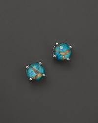 Ippolita Sterling Silver Rock Candy Mini Stud Earrings In Clear Quartz And Bronze Turquoise Blue