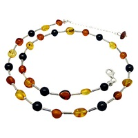 Goldmajor Sterling Silver Bead Collar Necklace Amber