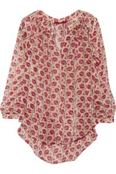 Tamara Mellon Printed Silk Blend Georgette Blouse Pink