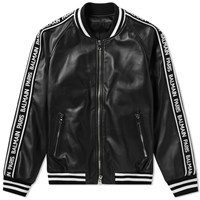 Balmain Leather Bomber Jacket Black