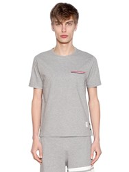 Thom Browne Striped Pocket Cotton Jersey T Shirt Light Grey