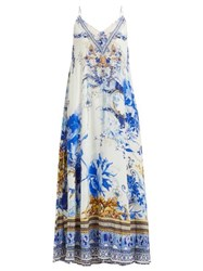 Camilla Saint Germaine Print Silk Maxi Dress Blue Print