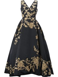 Oscar De La Renta Floral Embroidered Evening Dress Black