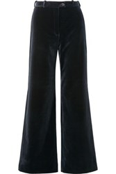 Acne Studios Cotton Velvet Wide Leg Pants Midnight Blue