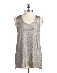 Y.A.S Metallic Twisted Back Tank Silver