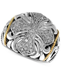 Effy Collection Balissima By Effy Diamond Cross Ring 1 4 Ct. T.W. In Sterling Silver And 18K Gold