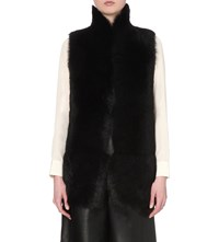 Whistles Reversible Shearling Gilet Black