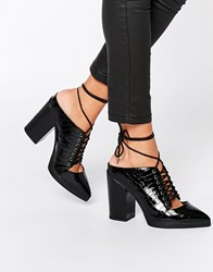 Asos Overheard Lace Up Mules Blackcroc