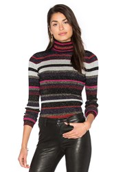 Diane Von Furstenberg Leela Metallic Turtleneck Sweater Navy