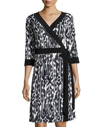 Melissa Masse Ikat Print 3 4 Sleeve Wrap Dress Black White