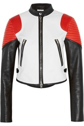Givenchy Cropped Color Block Leather Biker Jacket White