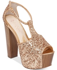 Jessica Simpson Dany T Strap Platform Dress Sandals Women's Shoes Gold Chunky Glitter