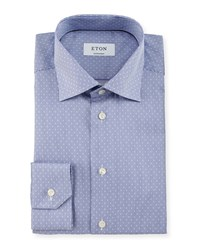 Eton Contemporary Fit Rope Striped Dobby Dress Shirt Navy Women's