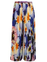 Christopher Kane Pansy Print Pleated Silk Cropped Trousers Black Multi