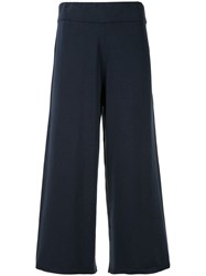Vince Cropped Wide Leg Trousers Blue