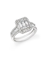 Bloomingdale's Diamond Round And Baguette Ring In 14K White Gold 1.30 Ct. T.W.