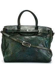 Numero 10 Textured Leather Shoulder Bag Green