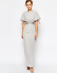 Elise Ryan Maxi Cape Dress With Embellished Waist Greysilver