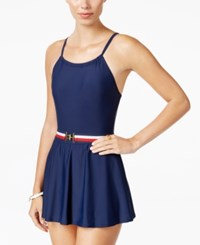 Tommy Hilfiger Belted Swimdress Women's Swimsuit Navy