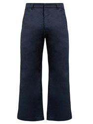 Martine Rose High Rise Kick Flare Cotton Cropped Trousers Navy