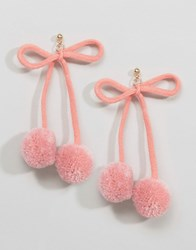 Asos Limited Edition Pom Pom Bow Stud Earrings Pink Gold