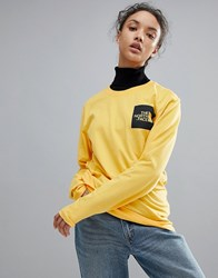 The North Face Long Sleeve Fine T Shirt In Yellow Tnf Yellow